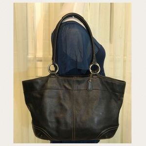 Coach Black Leather Bleecker Shoulder Tote Bag